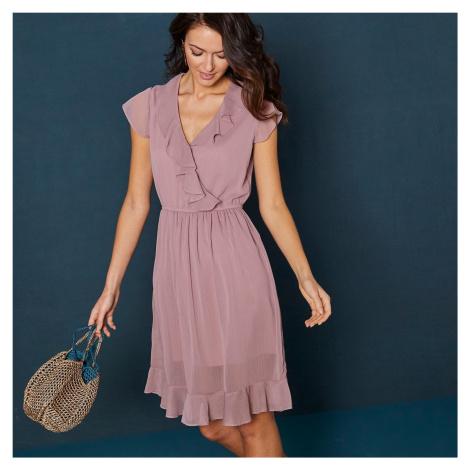 Blancheporte Krátke jednofarebné šaty s volánmi a krátkymi rukávmi ružová pudrová
