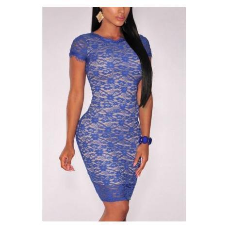 Dámske modré šaty s čipkou Ingrid