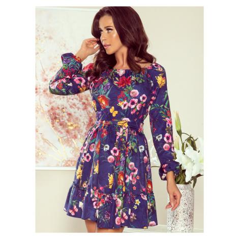 Modré kvetované šaty numoco