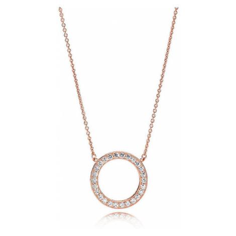 Pandora Bronzový náhrdelník s trblietavým príveskom Rose 580515CZ-45
