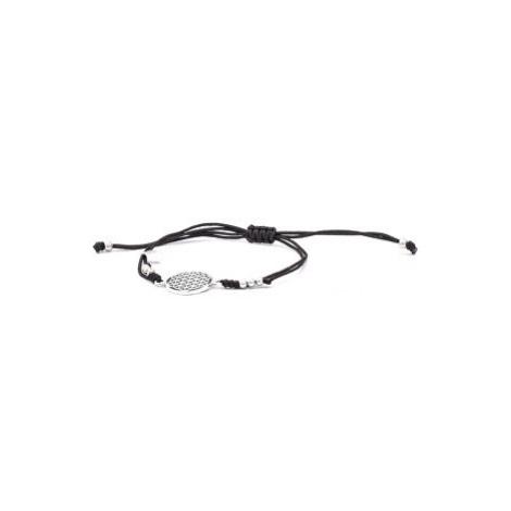 Beneto Štýlový čierny šnúrkový kabala náramok Mandala AGB560
