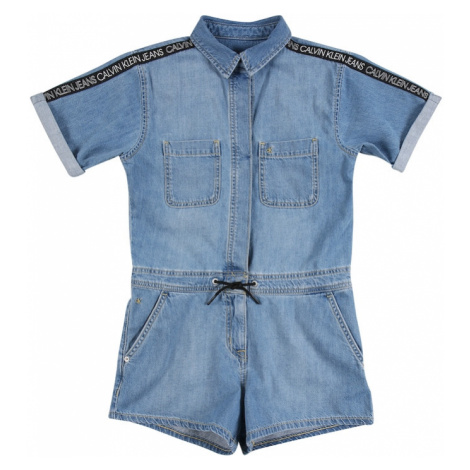 Calvin Klein Jeans Overal 'Rigid'  modrá denim / čierna / biela