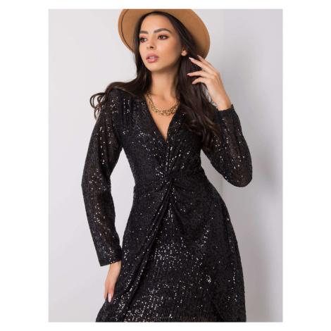 Dámske čierne flitrované šaty s dlhým rukávom