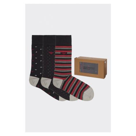 Emporio Armani Underwear Emporio Armani darčekové 3- balenie pánske ponožky - čierna/červená Veľ
