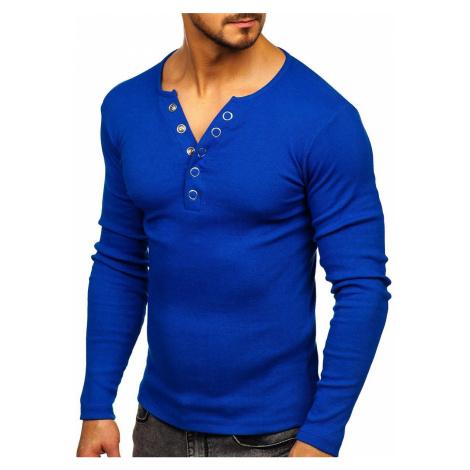 Kráľovský modré pánske tričko s dlhými rukávmi bez potlače BOLF 145362