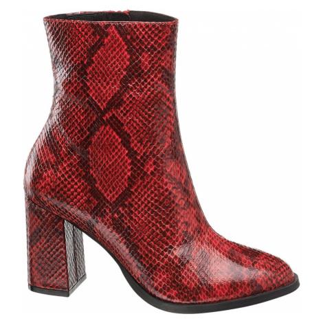 Vero Moda - Červené členkové čižmy so zvieracím vzorom Vero Moda