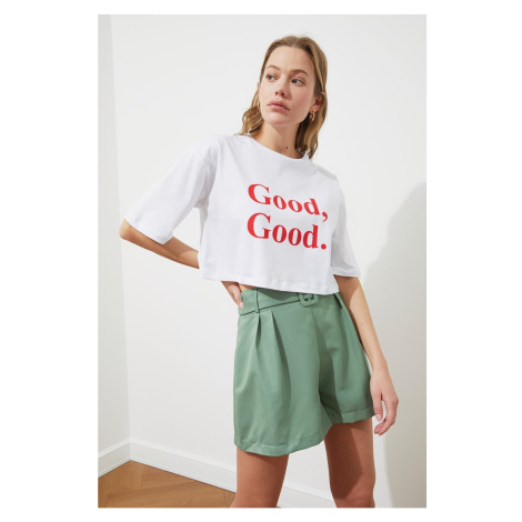 Trendyol White Printed Crop Knitted T-Shirt