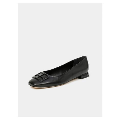 Čierne dámske kožené baleríny Högl