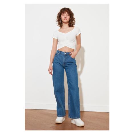 Trendyol Blue Petite High Waist Wide Leg Jeans