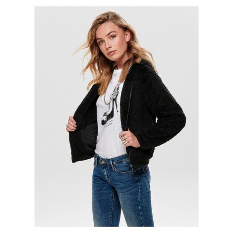 Čierna bunda s umelým kožúškom ONLY Anna