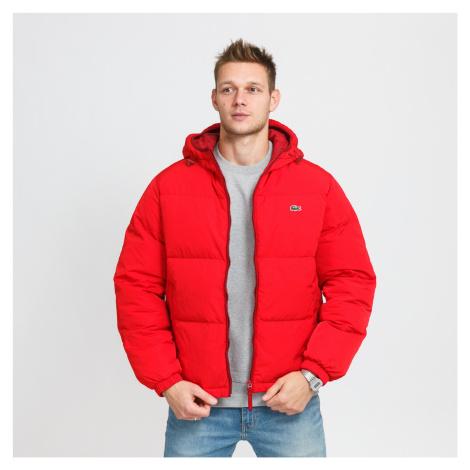 LACOSTE Short Lightweight Water-Resistant Puffer Coat červená