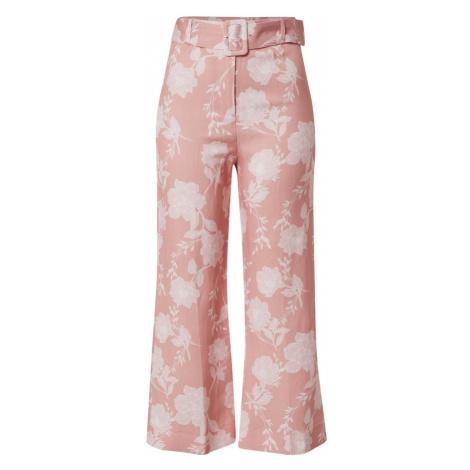 Forever New Nohavice 'Amara Linen Blend Pant'  biela / ružová