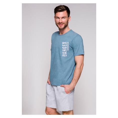Pánske tyrkysovo-sivé pyžamo Karol Taro