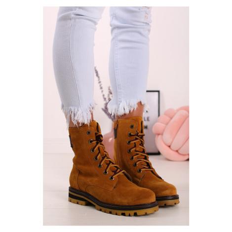 Škoricové kožené členkové topánky 5-25204 s.Oliver