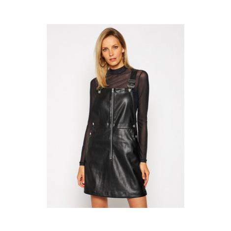 Calvin Klein Jeans Kožené šaty Dungaree J20J215033 Čierna Regular Fit