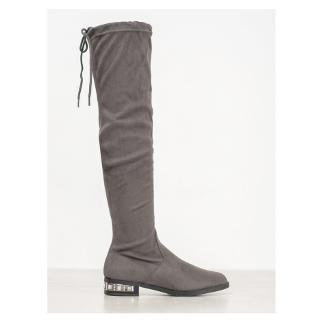 BESTELLE MUSKETEERS WITH DECORATIVE HEEL shades of gray and silver