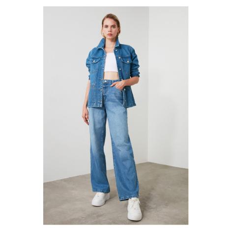 Trendyol Blue High Waist Wide Leg Jeans Navy