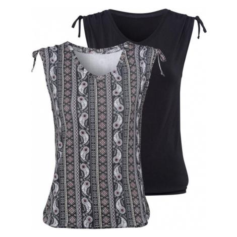 LASCANA Top  sivá / čierna / prírodná biela