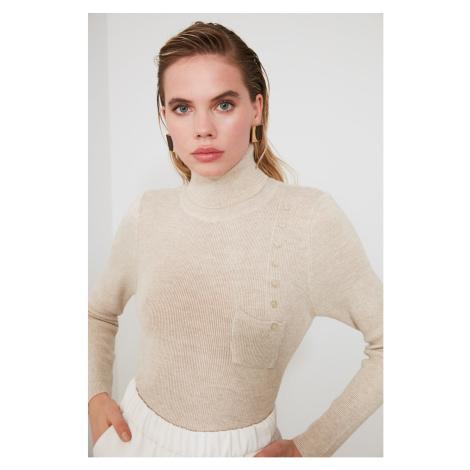 Trendyol Mint Button Detailed Knitwear Sweater Stone