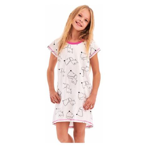 Dievčenská nočná košeľa Pepa biela Dog Taro