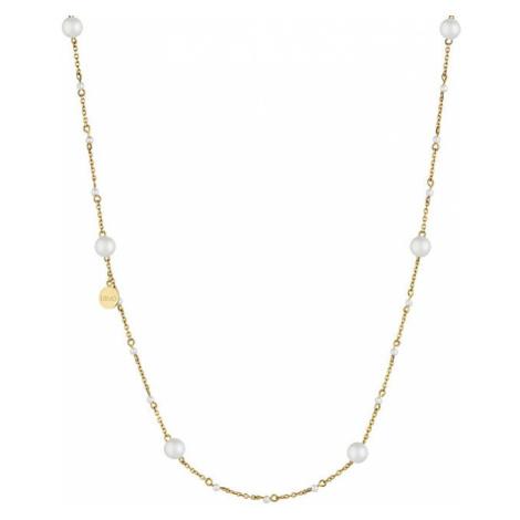 Liu.Jo Pozlátený oceľový náhrdelník s perličkami LJ1503