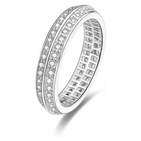 Beneto Strieborný prsteň s kryštálmi AGG203 mm