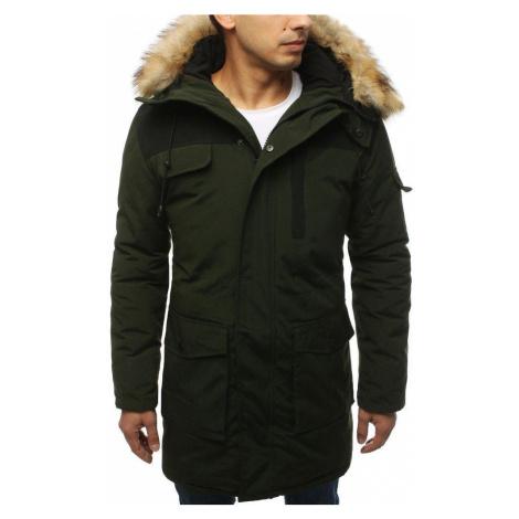 Pánska teplá zimná bunda zelená s kapucňou tx3035