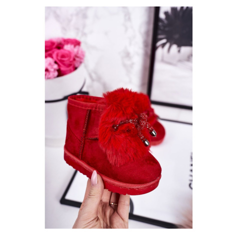 Children's Snow Boots Insulated With Fur Suede Red Amelia