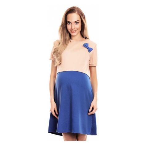 Tehotenské a dojčiace šaty Lydie béžovo-modré PeeKaBoo