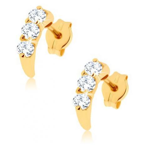 Briliantové zlaté náušnice 14K - lesklý oblúk vykladaný diamantmi čírej farby