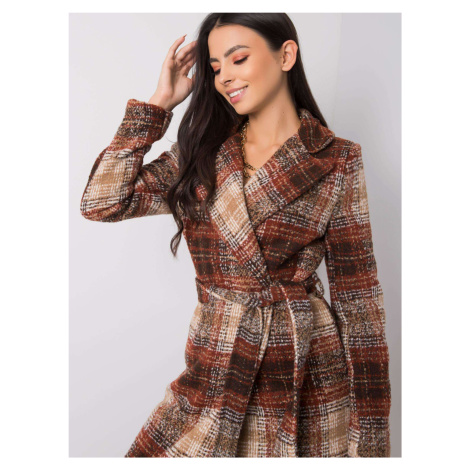 Hnedý kockovaný dlhý kabát