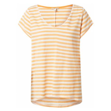 ESPRIT Tričko  biela / mandarínková