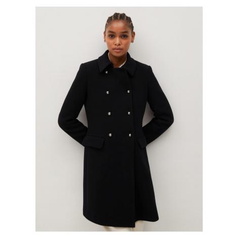 Black coat with mango wool admissage