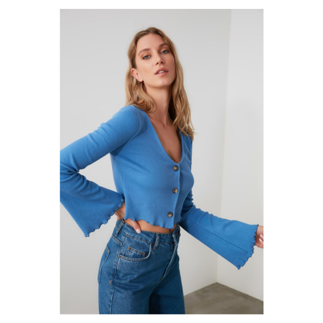 Trendyol Blue Button Wick Knitted Blouse