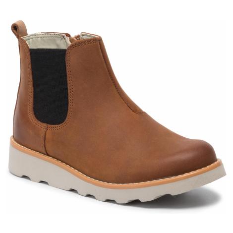 Outdoorová obuv CLARKS - Crown Halo K 261458847  Tan Leather