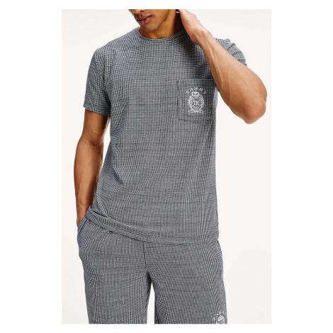Tommy Hilfiger pánske tričko CN SEE Tee Gingham Navy Blazer