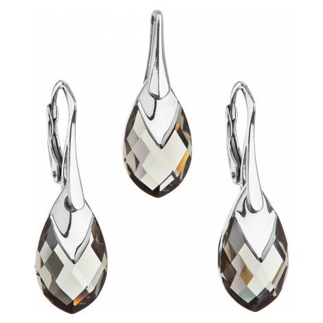 Sada šperkov s krištálmi Swarovski náušnice a prívesok šedá slza 39169.4