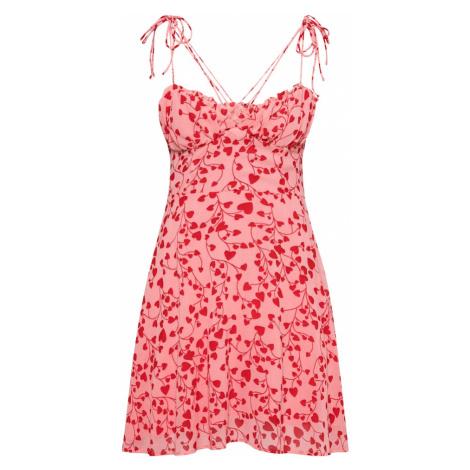 Parallel Lines Letné šaty  tmavočervená / ružová / svetločervená