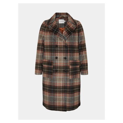 Hnedý kockovaný vlnený kabát JUNAROSE Carol