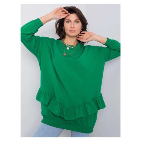 Dámska zelená bavlnená mikina s volánmi