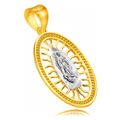 Prívesok v kombinovanom zlate 585 - medailón s Pannou Máriou so spojenými rukami