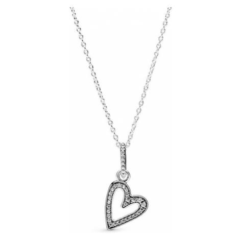 Pandora Strieborný náhrdelník s trblietavým srdcom 398688C01-50