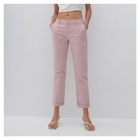 Reserved - Nohavice cigaretového strihu s opaskom - Ružová
