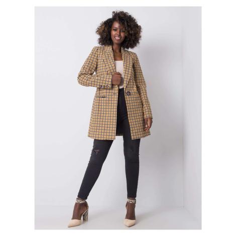 Horčicový károvaný kabát s gombíkom