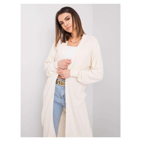 Dlhý biely pletený kardigan