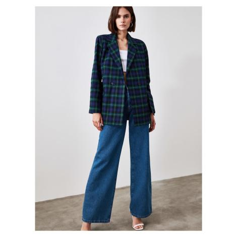 Tmavomodrý kockovaný ľahký kabát Trendyol