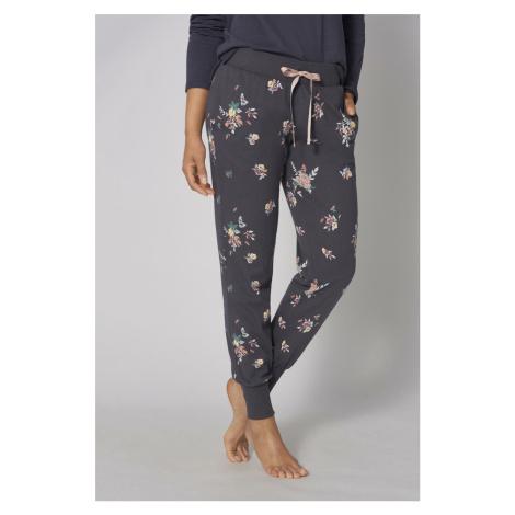Tmavosivé kvetované pyžamové nohavice Mix&Match Triumph