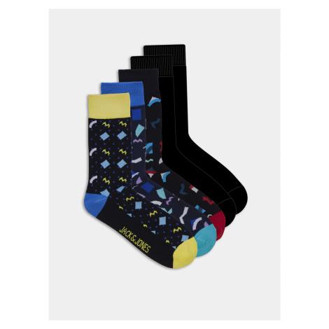 Sada piatich párov čiernych ponožiek s motívom Jack & Jones Pattern