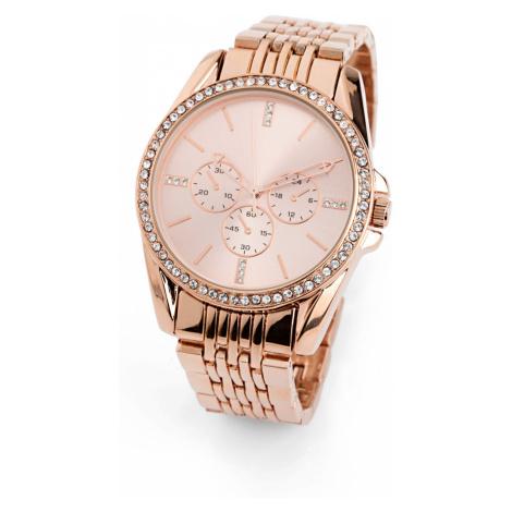 Kovové náramkové hodinky s krištáľmi bonprix
