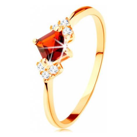Ligotavý prsteň v žltom 14K zlate - červený granátový štvorček, číre zirkóniky - Veľkosť: 59 mm